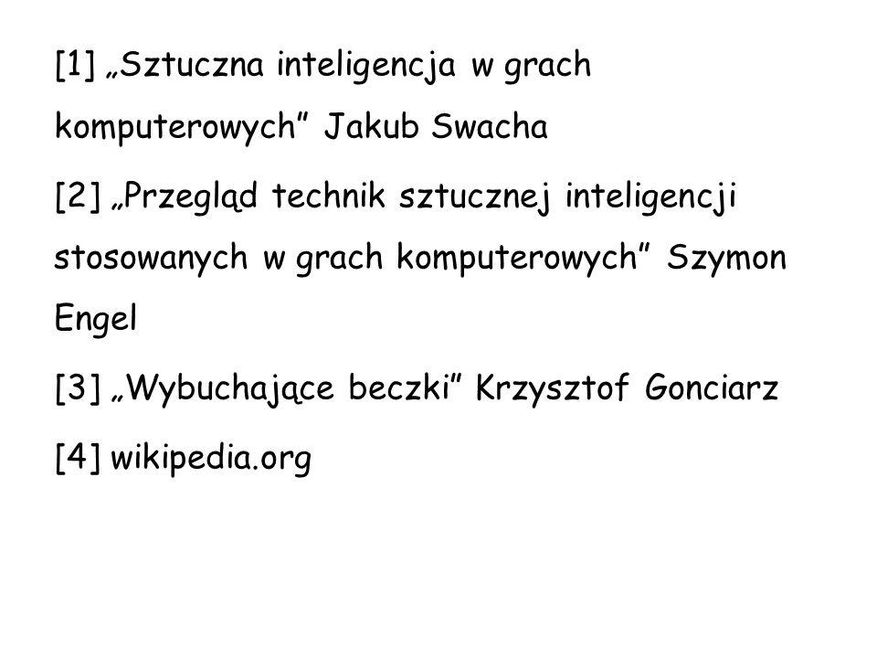"""[1] """"Sztuczna inteligencja w grach komputerowych Jakub Swacha [2] """"Przegląd technik sztucznej inteligencji stosowanych w grach komputerowych Szymon Engel [3] """"Wybuchające beczki Krzysztof Gonciarz [4] wikipedia.org"""